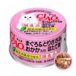 CIAO A25 木魚片+元貝味 吞拿魚雞肉 貓罐頭 80g x 24罐原箱優惠