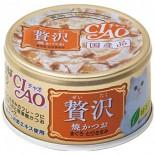 CIAO 贅沢  A-144 燒鰹魚 吞拿魚+雞肉 貓罐頭 80g x 24罐原箱同款優惠