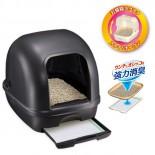 日本 Unicharm 消臭大師 全封閉型雙層貓砂盤套裝 (黑色)