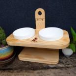 Pet Bay - 100%台灣製 貓咪三段式調節原木碗架 (雙碗)
