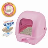日本 Unicharm 消臭大師 全封閉型雙層貓砂盤套裝 (粉紅色)