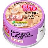 CIAO A12 鰹魚+白飯魚(瑤柱味) 貓罐頭 80g x 24罐原箱優惠