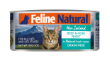 F9 Feline Naturals [K9-C- BH85] 貓罐頭 85G - 牛肉及藍尖尾鱈魚 x 24罐原箱優惠