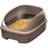 日本花王 - 抗菌除臭雙層*冇蓋*貓砂盆 + 木屑砂 + 吸墊 套裝  (朱古力色)