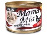 SEED BMA-03 MamaMia機能愛貓雞湯餐罐 - 鮮嫩雞肉+牛肉+牛磺酸 170g