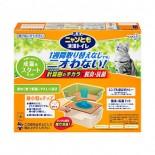 日本花王 - 抗菌除臭雙層*冇蓋迷你*貓砂盆+木砂+吸墊套裝
